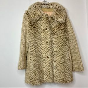 Vintage Country Pacer Tan Faux Fur Sweater Coat